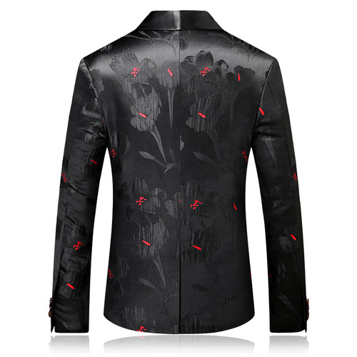 2018 Fashion Mens Printed Blazers Casual Slim Fit Prom Dress Blazer Men Black Floral Stage Wear Blazers Jacket for Men DT313