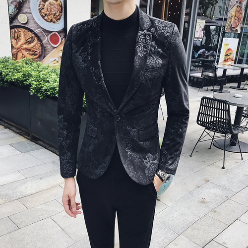 Floral Stylish Blazers For Men Slim Fit Mens Blazer Pattern Printed Blaser Homens Mens Blazer Personality Jacket Black Blue 3xl