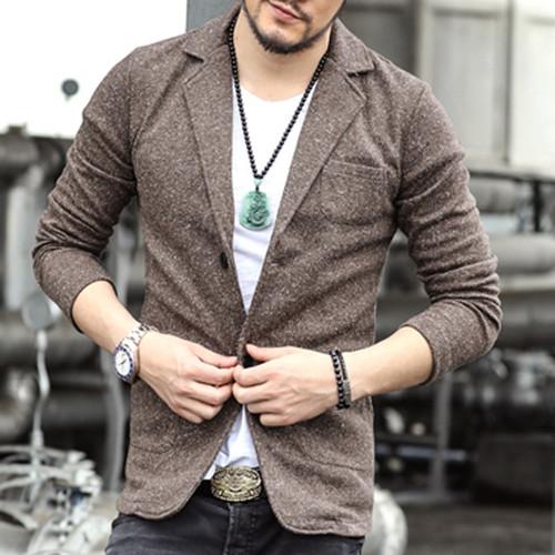 2017 Casual Men Knit suit Blazer business Slim Costume Homme Blazer Masculino Male Woolen Suits vintage Jacket coat one button