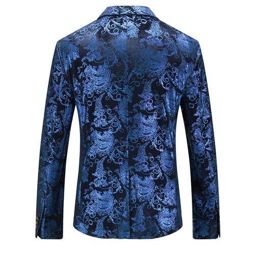 Plyesxale Floral Blazer Men 2018 Autumn Mens Velvet Blazers Red Blue Gold Blazer For Men 5XL Wedding Prom Party Suit Jacket Q29