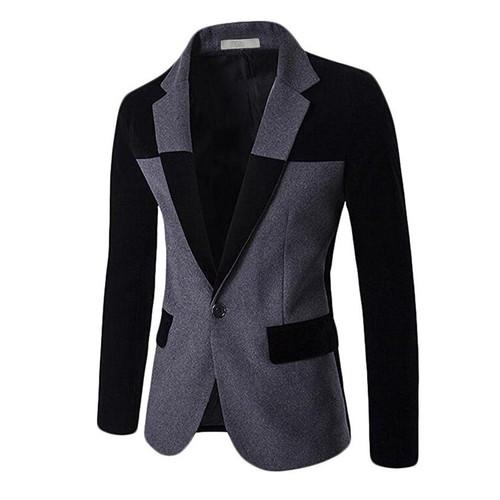 MOGU 2017 Blazers for Men Wool Blends Contrast Color Men Blazer Slim Fit Big Size Casual Mens Blazer Jacket terno masculion