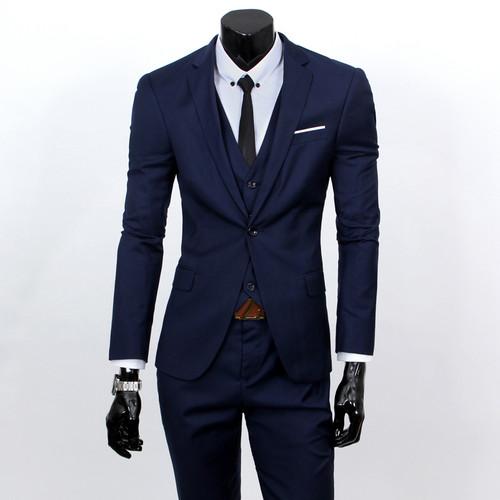 blazers + pants + vest set / 2018 Men's fashion three piece suit sets / male business casual coat jacket waistcoat trousers