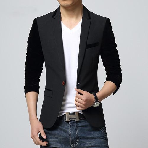 2017 Hot Sale Mens Blazer Jacket Patchwork Curdoruy Sleeve Single Button Business Casual Suit Korean Suits for Men