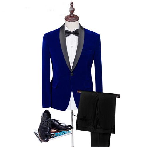 Classic Black Shawl Lapel Black Velet Groom Suits Custom Men Suits Wedding/Prom/Dinner Groom Tuxedos (Jacket+Pant+Bowtie)