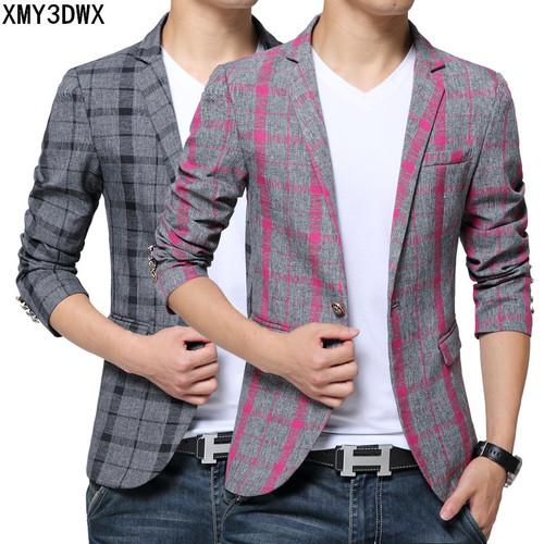2017 Men's Blazer Suit Jacket Fashion Man Plaid Blazer Style Casual Single Button Military Blazer Men Slim Fit Grid Suits Coats