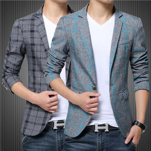 2017 Men's Blazer Suit Jacket Fashion Man Plaid Blazer Style Casual Single Button Military Blazer Men Slim Fit Grid Suits Coats