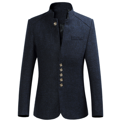 ZhenZhou Blazer Men 2017 Autumn New Style Stand Collar Male Blazer Slim Fit Mens Blazer Jacket Plus Size M-5XL 6XL High Quality