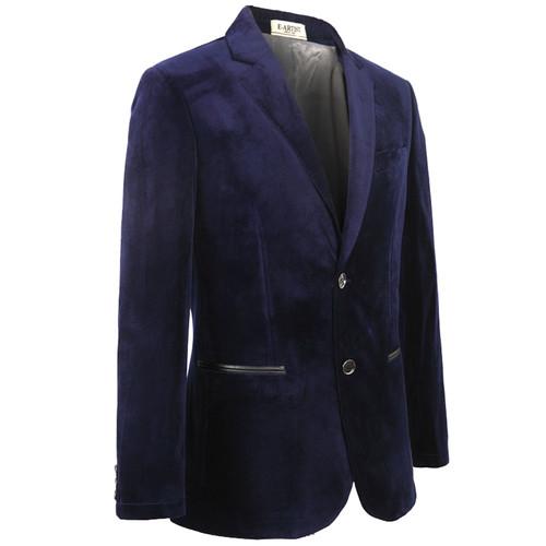 E-artist Men's Slim Fit Business Causal Velvet Blazers Jackets Suit Coats Outwear Tops for Spring Autumn Winter Plus Size X31