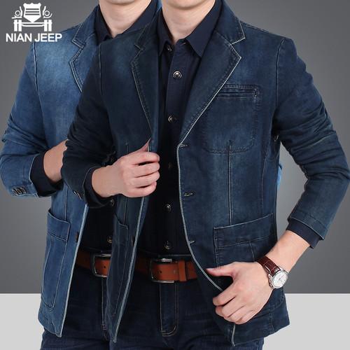 NIANJEEP Men Denim Blazer Brand Men's denim suit masculino casual outerwear Autumn Winter loose denim suit outerwear XXXXL 2182