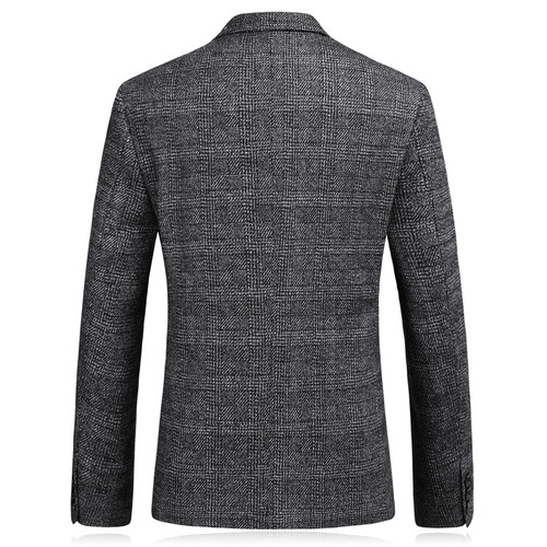 Plyesxale 2018 New Arrival Woolen Blazer For Men Slim Fit Gray Men's Wool Blazer Male Casual Suit Jacket Business Coat Q191