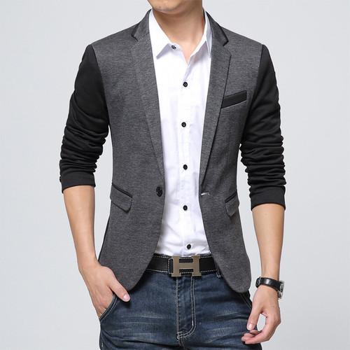 2017 New Slim Fit Mens Casual Jacket Single Button Cotton Blazer Jacket Men Classic Gray Mens Suit Jacket Patchwork Coat Men 6XL