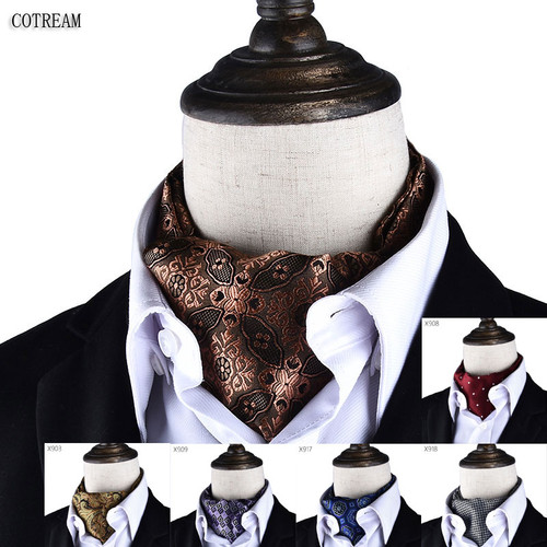 en Vintage Polka Dot Wedding Formal Cravat Ascot Scrunch Self British style Gentleman Polyester Neck Tie Luxury