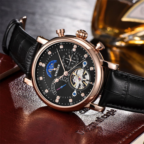 Men Full-automatic Mechanical Watch Tourbillon Luxury Brand  Fashion Genuine Leather Man Multifunctional Watch relogio masculino
