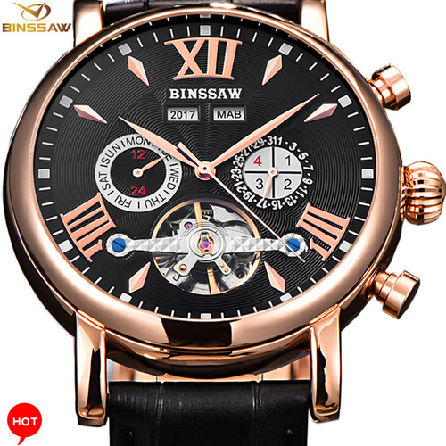 Luxury Brand Men Watch  Full-automatic Mechanical Tourbillon Fashion Sports Leather Man Calendar Week Multifunctional Watches