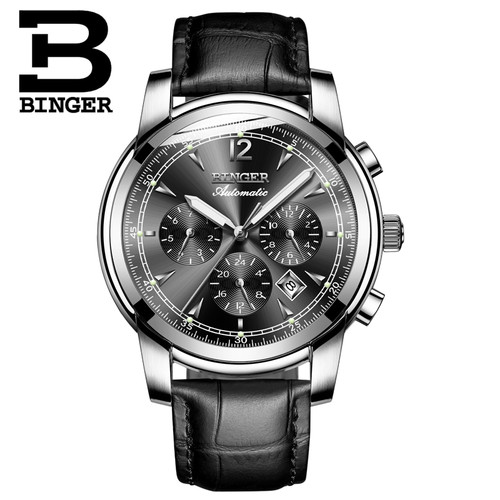 BINGER New 2017 Men Full-automatic Mechanical Watch Luxury Fashion Brand Genuine Leather Man Multifunctional Watches Waterproof