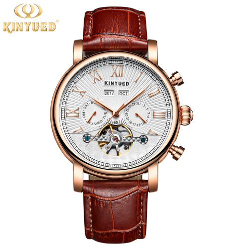 2018 KINYUED Men Tourbillon Full-automatic Mechanical Watch Luxury Fashion Brand Man Calendar Week Multifunctional Watches