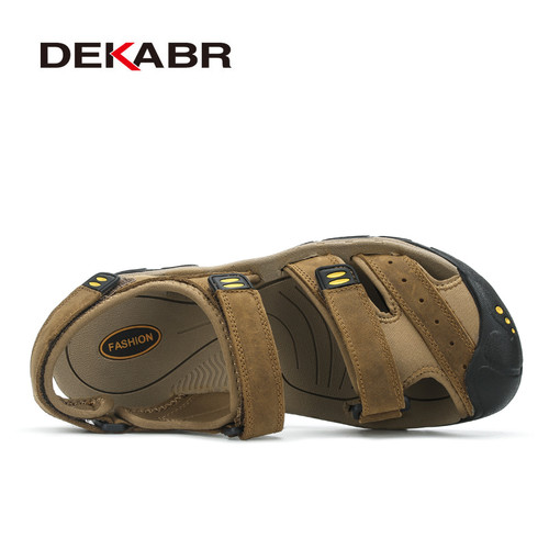 DEKABR New Fashion Summer Shoes Cow Leather Men Sandals Mens Casual Shoes Non-slip Rubber Soles Beach Shoes Plus Size 38 ~ 47