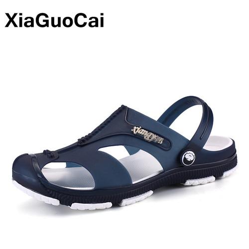 XiaGuoCai 2018 Summer Men's Slippers, Slip-On Garden Shoes, Breathable Men's Sandals, Plus Size Male Beach Shoes Flip Flops