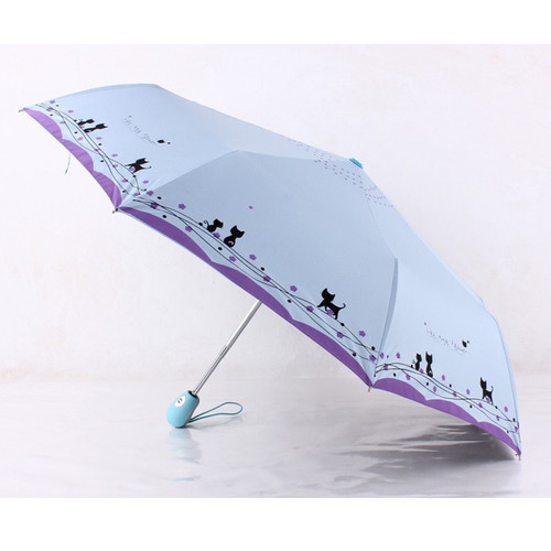 Cat  and  Flowers Windproof Ultralight Sun Rain Automatic Folding Umbrella Rain Women Umbrellas Lady Umbrella parasol