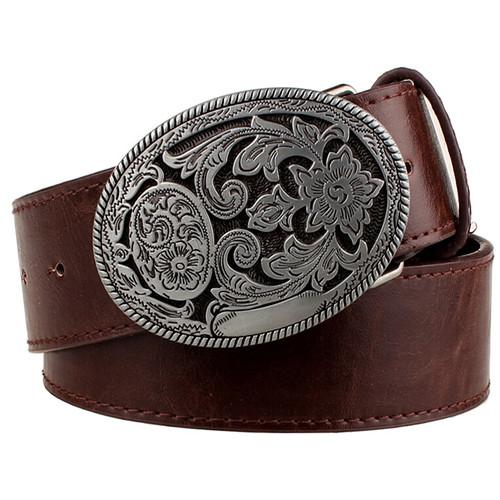 Retro women's belt metal buckle weave Arabesque pattern leather belts jeans trend punk rock strap decoration belt gift for women