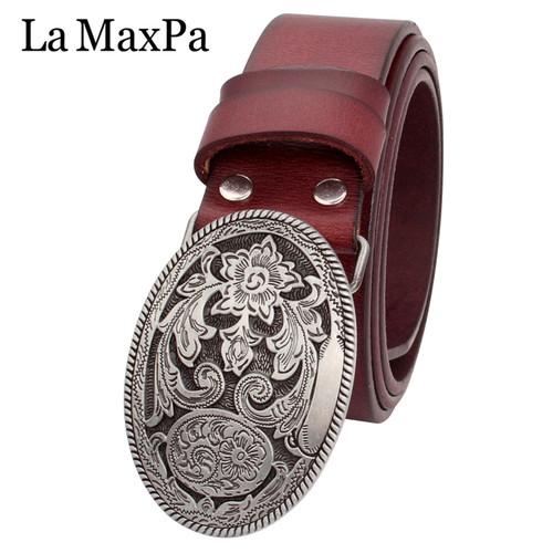 Fashion women's belt cowskin leather lady belt vintage arabesque pattern silver flower buckle belt for woman gift