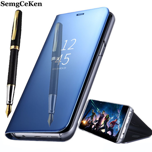 SemgCeKen Luxury original stand flip leather case for samsung galaxy S8 S 8 mirror pu smart Clear view phone coque cover cases
