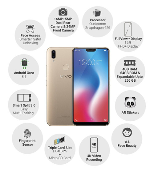 "International Version VIVO V9 4GB 64GB Mobile phone 4G LTE Snapdragon 626 Octa Core 6.3"" Dual Rear Camera Android 8.1 Cellphone"