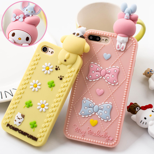 For iPhone X 7 8 7Plus full case 3D hello kitty / Melody phone Cases For iphone 6 6s 6plus Bear Soft back cover case girl pink