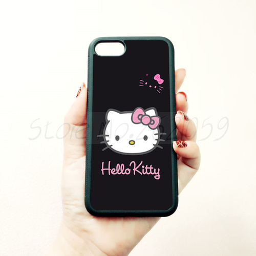 i love hello kitty soft edge phone case for iphone x 5c 5s se 6 6s 6plus 6splus 7 7plus 8 8plus black silicone cover case
