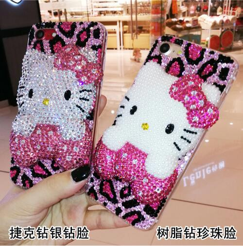 For LG G2 G3 G4 G5 K8 K10 2017 V10 V30 PC+ TPU Hello Kitty full Rhinestone Case
