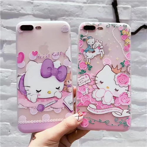 sFor iPhone 8 Luxury 3D Cartoon Phone Case For iPhone 6 6s Plus Case Hello Kitty Cute TPU Soft Silicone Cover For iPhone 7 Plus