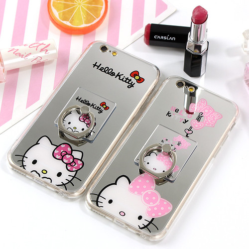 JAMULAR For iphone X 8 7 Plus Case Cartoon Mirror TPU Soft Silicon Hello Kitty Case For iphone 7 6 6s Plus Cases Ring Stand Capa