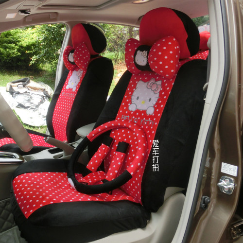 favours four seasons cute women cartoon Hello kitty wave point universal car seat covers 18 pieces set