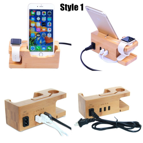 Phone Charging Dock Station For Apple Watch for Iphone 8 7 7 Plus 6 6S Plus 5 5S Wooden Stand Holder with Charger USB Port