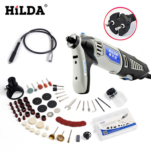 HILDA 180W Electric Mini Drill Variable Speed Grinder Grinding Machine with Engraving Accessories Dremel Rotary Tool 3000 4000