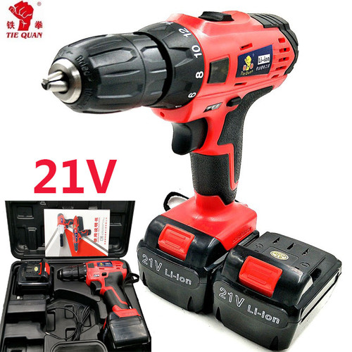 21v power tools electric Drill Electric Cordless Drill 2 Batteries Screwdriver  Mini Drill electric drilling Eu plug Plastic box
