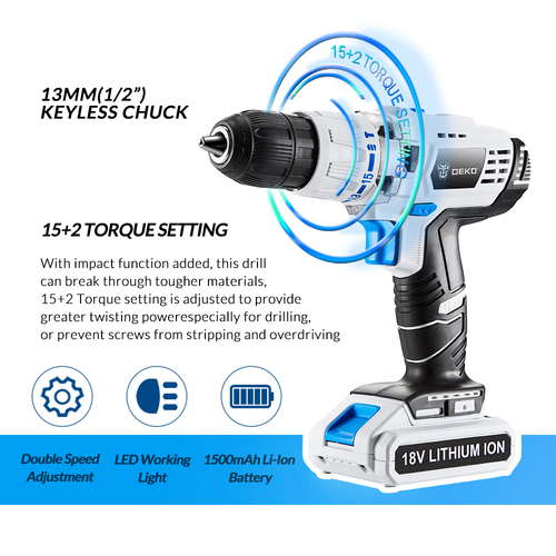 DEKO GCD18DU3 18V 50N.m DC New Design 2-Speed Power Lithium-Ion Battery Electric Cordless Drill Screwdriver Impact Power Driver