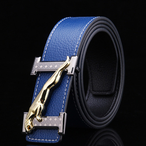 H Jaguar Designers Luxury Cowhide Brand 100% Genuine Leather Pin Buckle Belts for Mens High Quality Cowskin Ceinture Homme Blue