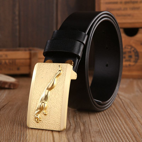 Brand luxury Jaguar model plate buckle full grain leather belts men high quality belt gold boutique cowhide coffee size 115 cm