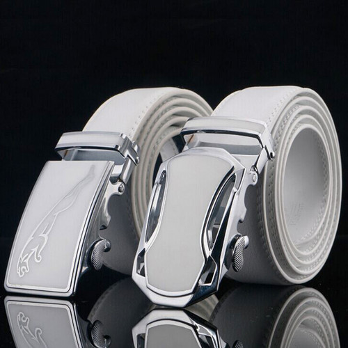 Jaguar Designers Luxury Cowhide Brand Genuine Leather Automatic Buckle Belts for Mens High Quality Cowskin Ceinture Homme White