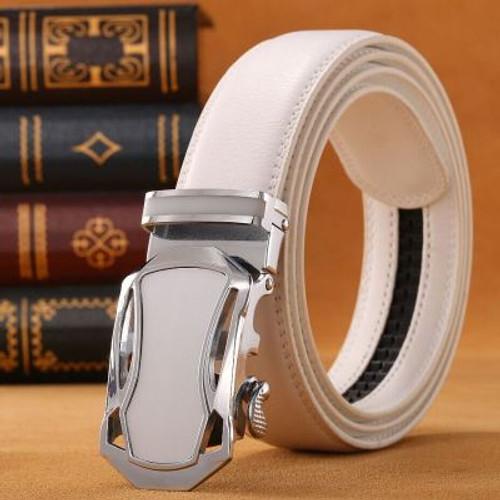 New jaguar white Belt 2017 New Brand Designer Automatic Buckle Leather Men Belt 110cm-125cm Luxury White Belts for Men