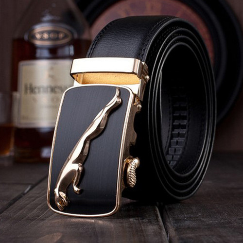 gold jaguar mens belts luxury 2018 designer strap high quality fiber leather automatic buckle high quality genuine leather belt