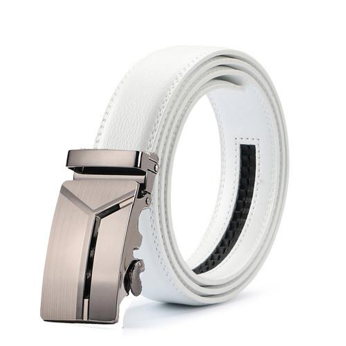 New Fashion Designer white  Belts for Men Jaguar Buckle Ratchet Luxury Leather Men 100% Cowskin Belt Automatic ceinture homme