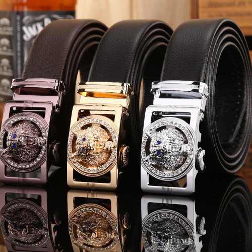 2018 famous brand new designer belts men high quality luxury fiber leather big size 140 cm 150 160 automatic buckle jaguar wolf