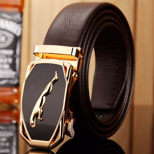 2018 hot designer belt men high quality luxury fiber leather gold jaguar 140 cm 150 160 big size plus automatic buckle car style