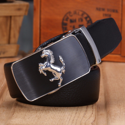 horse jaguar men belt luxury 2018 designer strap high quality fiber leather automatic buckle big plus size 140 cm 150 160 horse