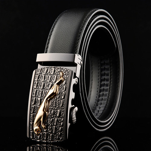 WOWTIGER New Designer Automatic Buckle Leather men belt crocodile grain Jaguar High quality alloy buckle Luxury belts for men