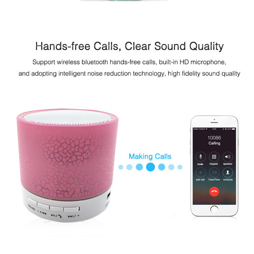 HEONYIRRY Portable Mini LED Bluetooth Speakers Wireless Small Music Audio TF USB FM Light Stereo Sound Speaker For Phone