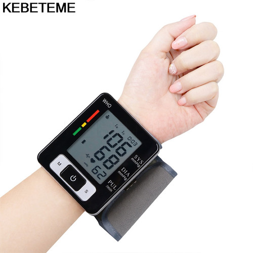 LCD Digital Display Screen Home Automatic Wrist Blood Pressure Pulse Sphygmomanometer and tonometer Monitor Heart Beat Meter