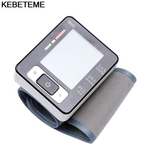 LCD Digital Display Screen Home Automatic Wrist Blood Pressure Pulse Sphygmomanometer and tonometer Monitor Heart Beat Meter